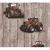 Detské vliesové tapety na stenu Little Stars traktory červené na drevených doskách