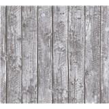 Detské vliesové tapety na stenu Little Stars drevené dosky sivé