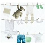 Detské vliesové tapety na stenu Little Stars Detské oblečenie modro-zelené