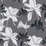 Vliesové tapety na stenu IMPOL Luna veľké lesklé kvety čierno-strieborné