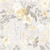 Vliesové tapety na stenu IMPOL Marbella kvety svetlo hnedé na sivom podklade