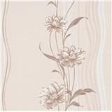 Vliesové tapety na stenu Natalia kvety hnedé na podklade s vlnovkami POSLEDNÉ KUSY