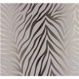 Vliesové tapety NENA zebra vzor strieborno-hnedý