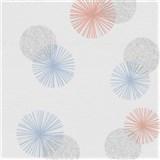 Vliesové tapety na stenu Novara 3 farebné moderné kruhy na bielom podklade - POSLEDNÝ KUS