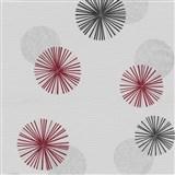 Vliesové tapety na stenu Novara 3 moderné kruhy červené, čierne a sivé s lesklými efektmi