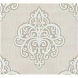 Vliesové tapety na stenu Opal ornament biely na krémovom podklade