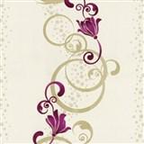 Vliesové tapety na stenu Pure and Easy kvety ružové so zlatým ornamentom