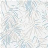 Vliesové tapety IMPOL Timeless listy béžovo-modré na bielom podklade