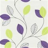 Papierové tapety na stenu Tribute - lístie fialové, zelené na bielom podklade