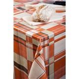 Obrusy návin 20 m x 140 cm kocky oranžovo-hnedé