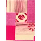 Obrus návin 20 m x 140 cm kytičky ružovo-červené