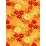 Obrusy návin 20 m x 140 cm kvety oranžové