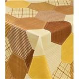 Obrusy návin 20 m x 140 cm geometrický vzor hnedo-žltý
