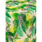 Obrusy návin 20 m x 140 cm tropické listy na krémovom podklade s textilnou štruktúrou