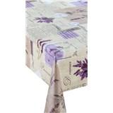 Obrusy návin 20 m x 140 cm Provence levanduľa so srdiečky