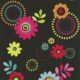 Papierové tapety na stenu X-treme Colors - kvety ružové na čiernom podklade