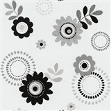 Papierové tapety na stenu X-treme Colors - kvety sivé