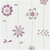 Papierové tapety na stenu X-treme Colors - kytičky fialovo-hnedé