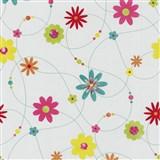 Papierové tapety na stenu X-treme Colors - kvety farebné na bielom podklade