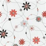 Papierové tapety na stenu X-treme Colors - kvety oranžovo-sivé
