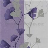Vliesové tapety na stenu 4ever - listy Ginkgo svetle fialovo-strieborné