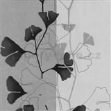 Vliesové tapety na stenu 4ever - listy Ginkgo čierno-šedé