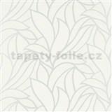 Vliesové tapety na stenu Bali listy biele na striebornom podklade