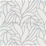 Vliesové tapety na stenu Bali listy zeleno-fialové na bielom podklade