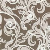 Tapety na stenu Baroque - barokový vzor hnedo-biely