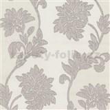 Tapety na stenu Baroque - kvety sa štruktúrou textilu fialovo-béžové