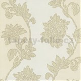 Tapety na stenu Baroque - kvety sa štruktúrou textilu béžovo-hnedé