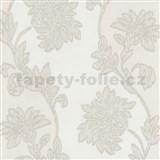 Tapety na stenu Baroque - kvety sa štruktúrou textilu bielo-hnedé