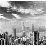 Luxusné vliesové fototapety Hong Kong - čiernobiele, rozmer 279 cm x 270 cm