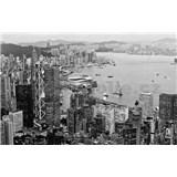 Luxusné vliesové fototapety Hong Kong - čiernobiele, rozmer 418,5 cm x 270 cm
