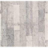 Vliesové tapety na stenu Einfach Schoner 3 drevené dosky svetlo sivé s bielymi ornamentami