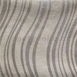 Vliesové tapety na stenu Einfach Schoner 3 vlnovky strieborné na bielom podklade