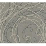 Vliesové tapety na stenu MERINO ornamenty na metalickom sivom podklade