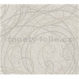 Vliesové tapety na stenu MERINO ornamenty béžové na metalickom svetlo sivom podklade