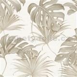 Vliesové tapety na stenu New Spirit palmové listy a monstera hnedé na bielom podklade
