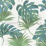 Vliesové tapety na stenu New Spirit palmové listy a monstera modro-zelené na bielom podklade