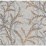 Vliesové tapety na stenu Seasons lístky modro-hnedé na krémovom podklade