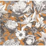 Vliesové tapety na stenu Seasons kvety sivé na hnedom podklade