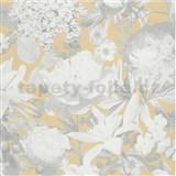Vliesové tapety na stenu Seasons kvety sivé na béžovom podklade