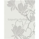 Vliesové tapety na stenu Summer Time kvety hnedo-strieborné