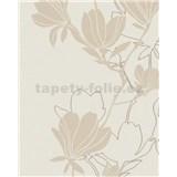 Vliesové tapety na stenu Summer Time kvety béžovo-zlaté