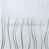Vinylové tapety na stenu vlnovky strieborné na bielom podklade