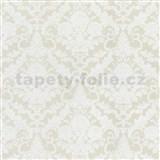 Vliesové tapety na stenu Hypnose zámocký vzor biely na krémovom podklade