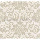 Vliesová tapeta na stenu Florence zámocký vzor svetlo hnedý na strieborno-bielom podklade