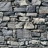 Vinylové tapety kamenný múr sivo-modrý