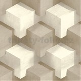 Vliesové tapety na stenu PRISME 3D štvorce bielo-hnedé
